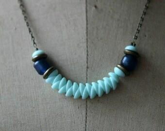 50%OFF Aqua Blue, Cobalt Blue,Beaded Necklace, Czech Glass Aqua Glass Beads, Boho, Bohemian, Holiday, Under 25, Gift for Her