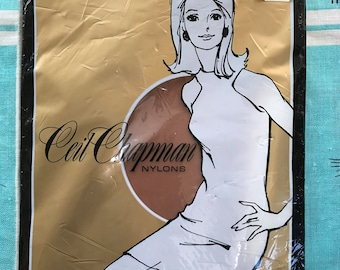 Vintage 1960's Ceil Chapman Nylons Stockings 9 1/2 Beige 0180