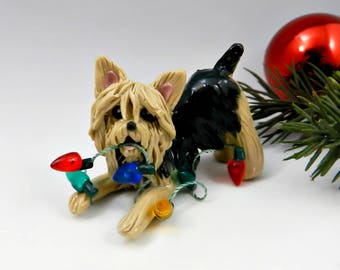Yorkshire Terrier Yorkie Christmas Ornament Figurine Lights Porcelain