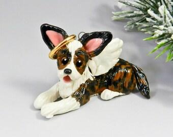 Angel Cardigan Welsh Corgi Brindle Christmas Ornament Figurine Memorial Porcelain