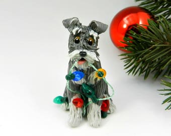 Schnauzer Christmas Ornament Figurine Salt Pepper Lights Porcelain