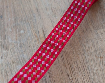 Red Floral - Vintage Trim 60s 70s New Old Stock Striped  Holiday Christmas