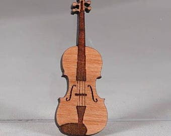 Violin or Fiddle Pin, laser cut and engraved, made of layered cherry wood  -  Fast Free Shipping with gift wrap