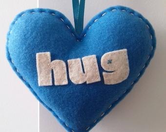 Love to HUG - Bright Blue Love Heart Decoration
