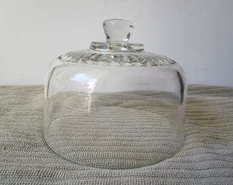 Vintage French glass terrarium dome, Cheese cover, Glass Cloche, display cover, display dome