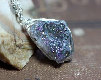 Iris Druzy Quartz Necklace Blue Titanium Quartz Nugget Silver Wire Wrapped Pendant Necklace
