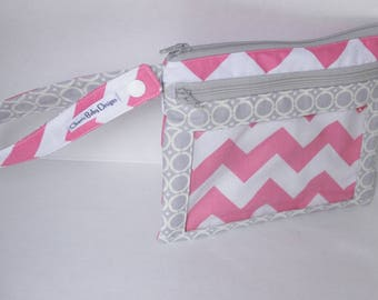 On Sale, small, wet dry bag, clear pocket pouch, double zipper pouch, pink, white, grey, chevron pouch