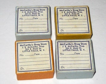 4 Very Small Vintage Pharmacy Pill  Boxes
