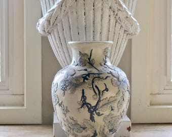 Vintage Beautiful Chinoiserie.......Raised Blue And White Floral Pattern Hand Painted Vase