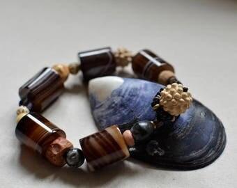 Banded Agate Bead Boho Bracelet Large