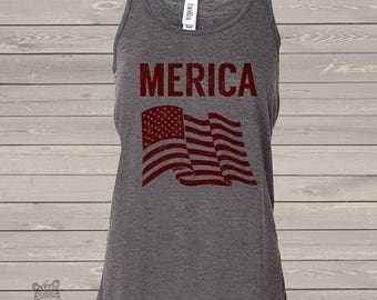 SALE - ships in time 4th SALE - American flag merica flowy tank top- perfect for July 4th festivities  MFFT