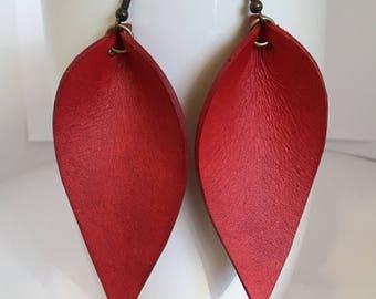 Red Leather Earrings, Joanna Gaines Inspired, Red, Leather Leaf Earrings, Inspired By Joanna Gaines Earrings