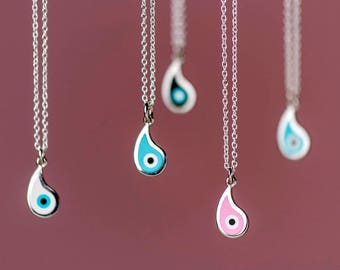 Sterling Silver Evil Eye Necklace Teardrop Evil Eye cloisonne enamel pendant Gift for Her Anniversary gift Bridal Blue Black Pink White