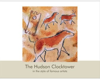 SALE!  2018 Wall Calendar: The Hudson Clocktower Inspired by Famous Artists, 8.5 x 13 inches, Whimsical Art of an Ohio Landmark