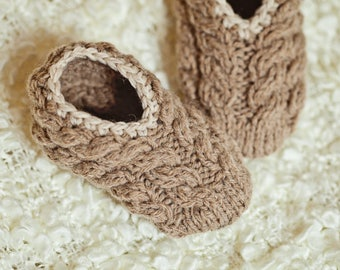 Knitting Pattern (pdf file) Instant Download - Baby Cable Slippers