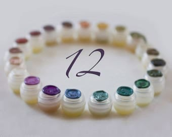 Solid Natural Perfume Sample Set of twelve nature fragrances made with essential oils  - A zen kit of handmade, nature treasures
