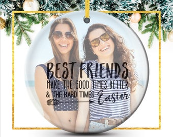 Best Friend Christmas Gift, Photo Ornament, Special Personalized Holiday Ornament featuring your photo // C-P118-OR XX9