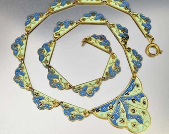 Germany Enamel Flower Art Deco Necklace, Blue Green Enamel Necklace, Vintage 1920s Geometric Necklace, Girlfriend Gift Art Deco Jewelry