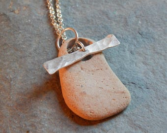 sticks and stones beach stone toggle necklace
