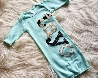Personalized Newborn Gown Girl, Hospital Going Home Outfit, Baby Girl Gift, Gold Black Mint, Tribal Print, Newborn Outfit, Personalized Gift