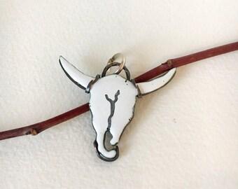 Enameled Steer Skull pendant