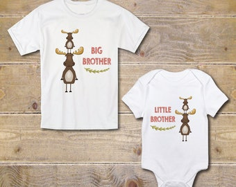 Big Brother Little Brother Shirts, New Big Brother, Baby Shower Gift, Silbling Shirt, Onesies, Outfits, Moose, Baby Brother Shirt