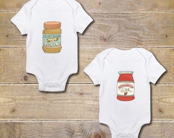 Twin Gift, Gift for Twins, Twins Onesie, Twins Shirts, Peanut Butter and Jelly, Best Friends, Boy Girl, Twin Babies, Baby Shower Gift