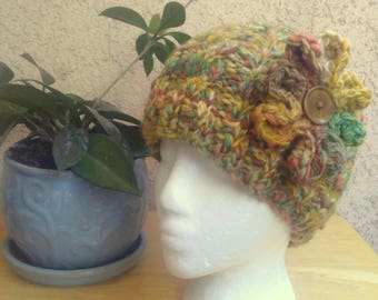 Gold and Green Variegated Winter Hat. Medium Brown. Optional Flower with Vintage Button. Merino Wool Hat. Beanies for Women. Ready to Ship.