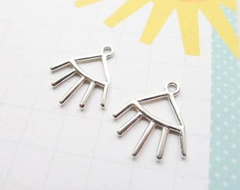 Sterling Silver Ear Jackets for Stud Earrings Spike Sun Ray Array (CR926189)