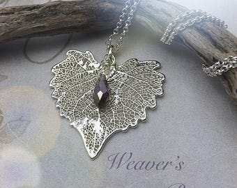 Silver-dipped Cottonwood Leaf Necklace, Amethyst Crystal , Oregon Grown,  Free USA Shipping, Ready to ship, February Birthstone