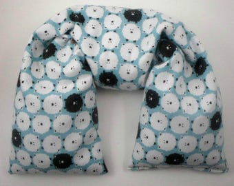 Microwave Neck Wrap with Organic Herbs - Flax seed heating pad - Microwavable Heating Pad - Counting Sheep Print GOTS Organic Cotton flannel