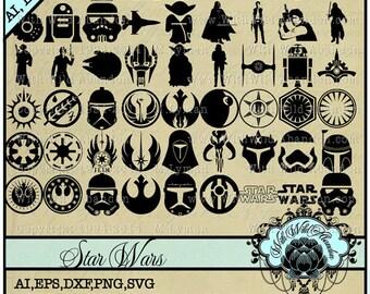 Star Wars svg, May the Force, Jedi Knight,  ai, svg,eps,png, dxf, C3P0 svg, R2D2 svg, Luke Skywalker svg, darth vader svg, Princess Leia svg