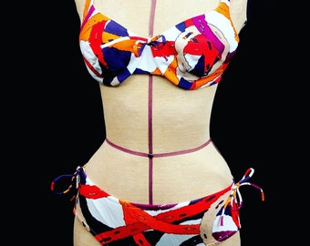 1960's BALI bombshell abstract 2 peice bikini  pin up vixen 34C M