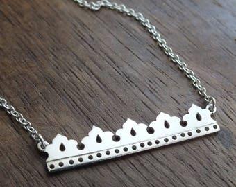 Moresque bar necklace - sterling silver bar necklace - geomeric necklace - layered necklace - boho necklace