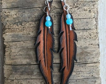 Hand Tooled Leather Fearless Earrings