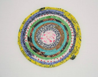"""Multicolor Reversible Coiled Fabric Trivet - 6.5"""" - Handmade by Me - Candle Mat, Hot Pad, Pink, Bullseye, Bohemian Style"""
