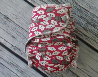 Stay Dry One Size Overnight Fitted Cloth Diaper in Clouds on Pink