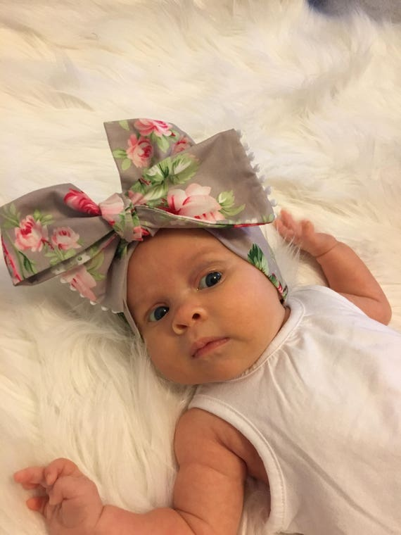 Baby Gray And Pink Floral Head Wrap