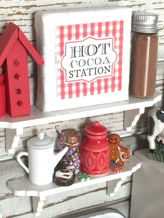 "Miniature Christmas Hot Cocoa Station Canvas Art 2"" x 2"""