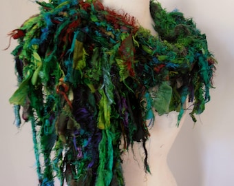 silk scarf wrap, woodland forest greens,  recycled silk, hand knitted, boho tattered rag scarf