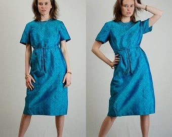 SALE 25% off sundays Block Print Dress Vintage 60s Teal Blue Block Print Tailored Belted Day Dress (s m)