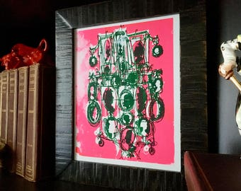 CAMEOS #050    screenprint, hot pink and evergreen by Kathryn DiLego (8x10)