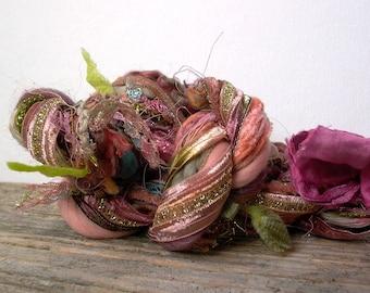 desert rose fringe effects™  21yd luxury art yarns fiber bundle . pink mauve tan green . sari silk handspun wools painted ribbons sparkle