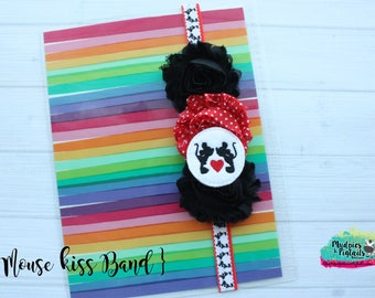 Planner band { Mouse Kisses } mickey minnie, red, black, yellow, valentine's day band planner girl accessories bible band, baby headband