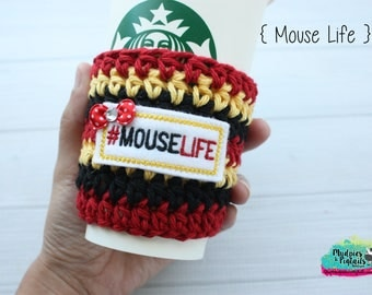 Mouse Ears Day Crochet Coffee Sleeve { Mouse life } classic minnie black, red, polkadot bows cup cozy, knit mug sweater, mug holder