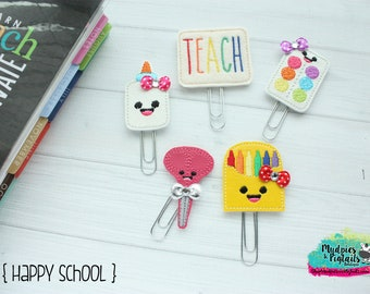 Teacher Planner Clips { Happy School } Back to School Paper Clips, classroom School supplies, Planner, student planning, college girl
