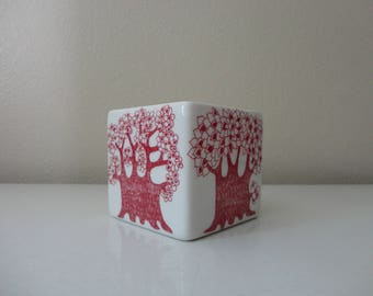 "VINTAGE 1960s ceramic DISH - burgundry trees - turi design ""arden"" - made in norway - figgjo flint"
