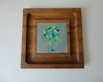 VINTAGE 1960s walnut wood and enamel on copper CHEESE cracker serving TRAY - designed by ernest john