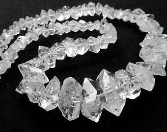Herkimer Diamond Crystal Center-Drilled Herkimer Diamond. Semi Precious Gemstone. Graduated 6-19mm Strand your Choice. (57hk)