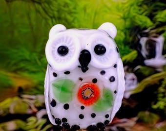Jessie........ lampwork owl bead............ sra
